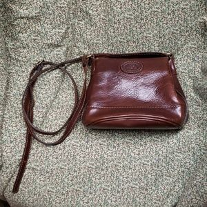 Vintage Brown Leather Crossbody Purse 80s OS